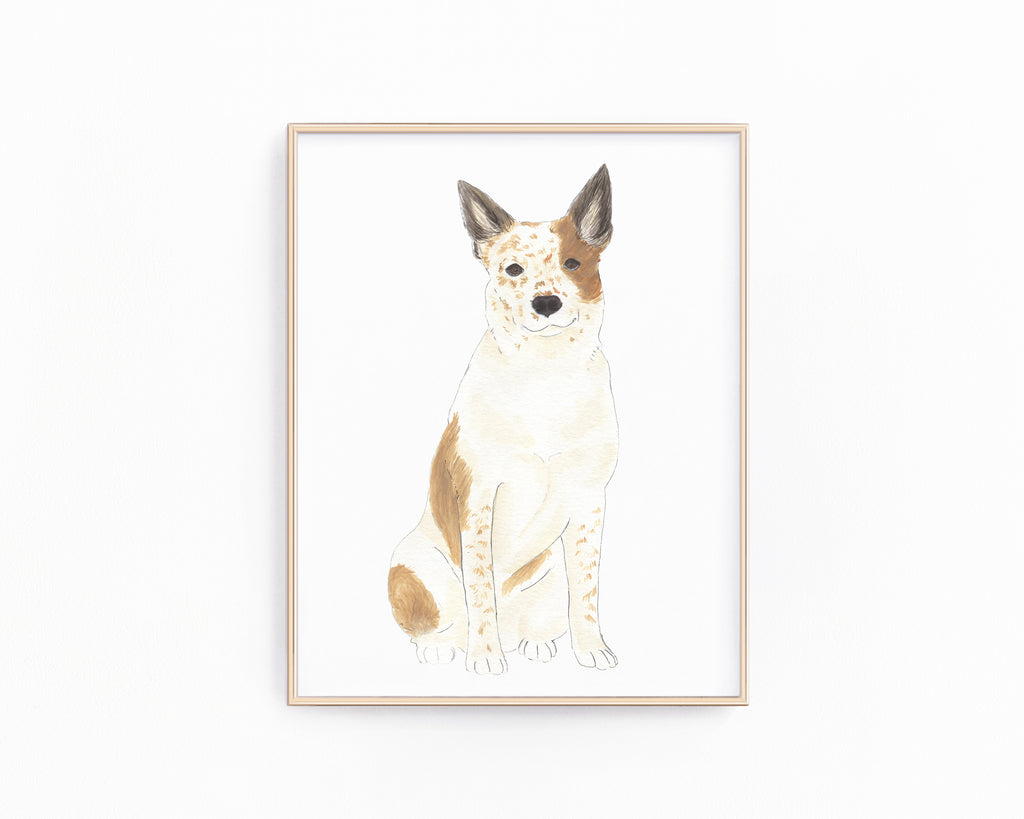 Personalized Australian Cattle Dog/Heeler (Red) Fine Art Prints
