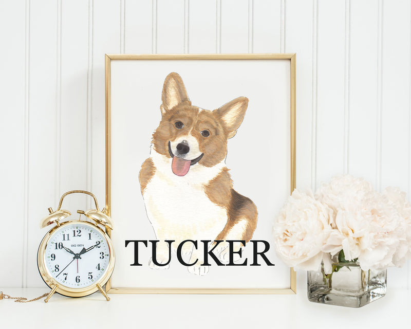 Personalized Corgi (Red & White) Fine Art Prints
