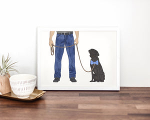 Dog Dad & Black Lab Walkin' Fine Art Print