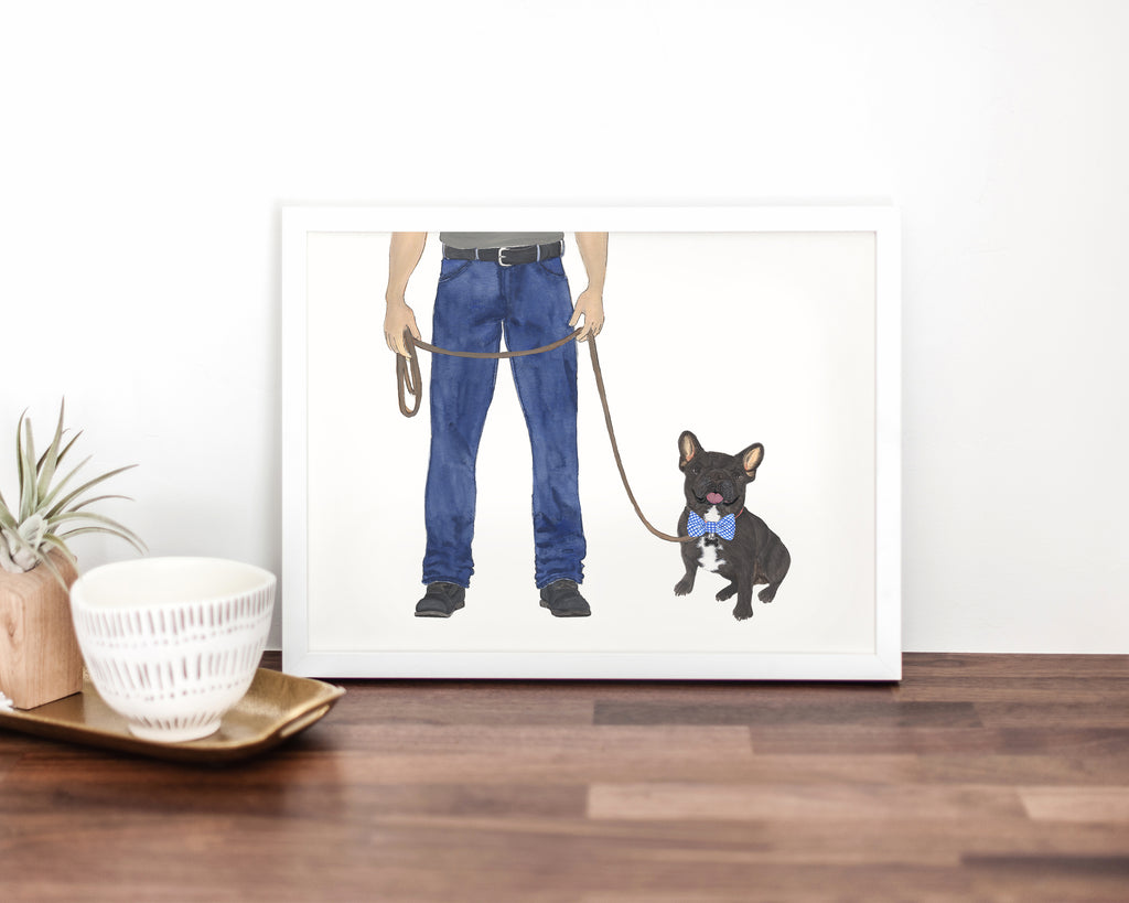 Dog Dad & Black / Brindle Frenchie Walkin' Fine Art Print