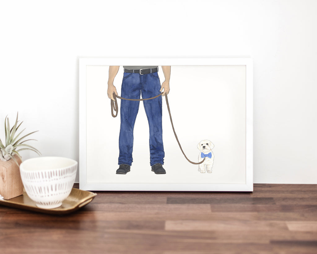 Dog Dad & White Floof Walkin' Fine Art Print