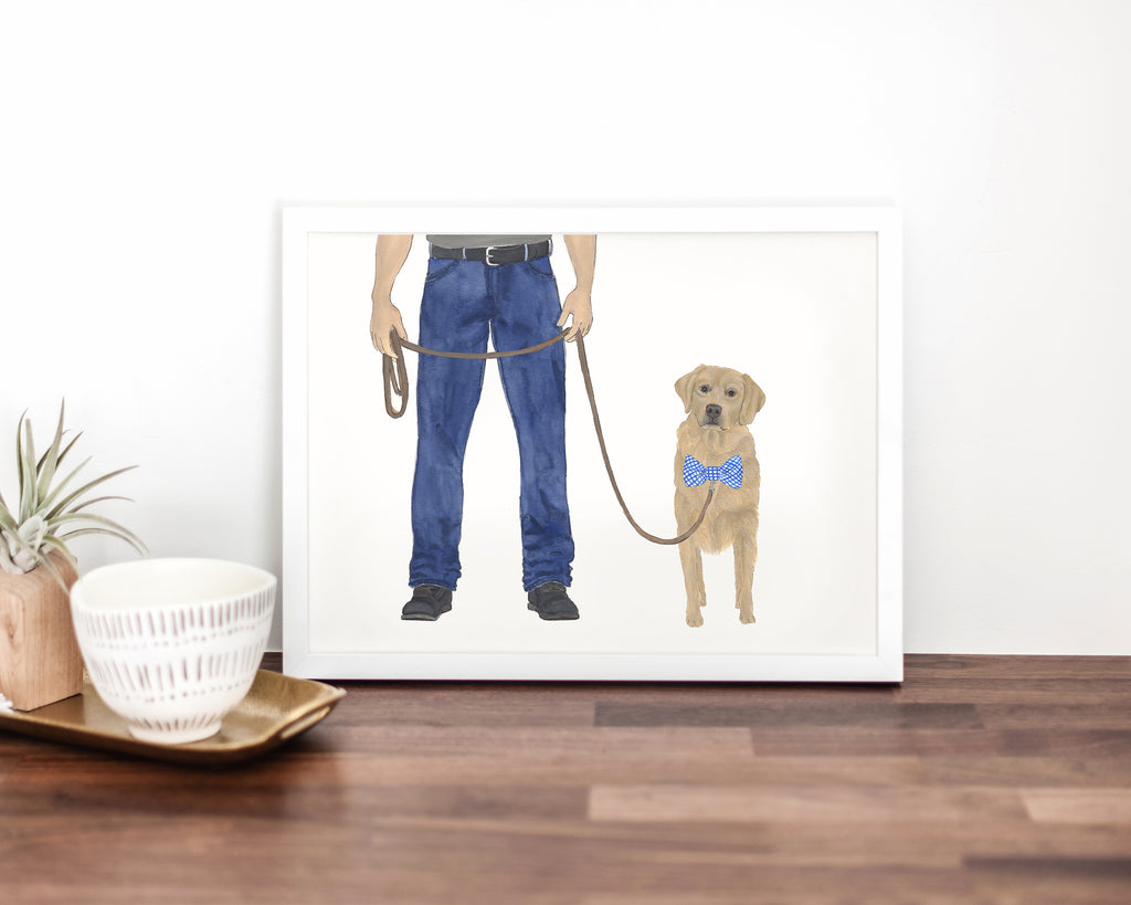 Dog Dad & Golden Retriever Walkin' Fine Art Print