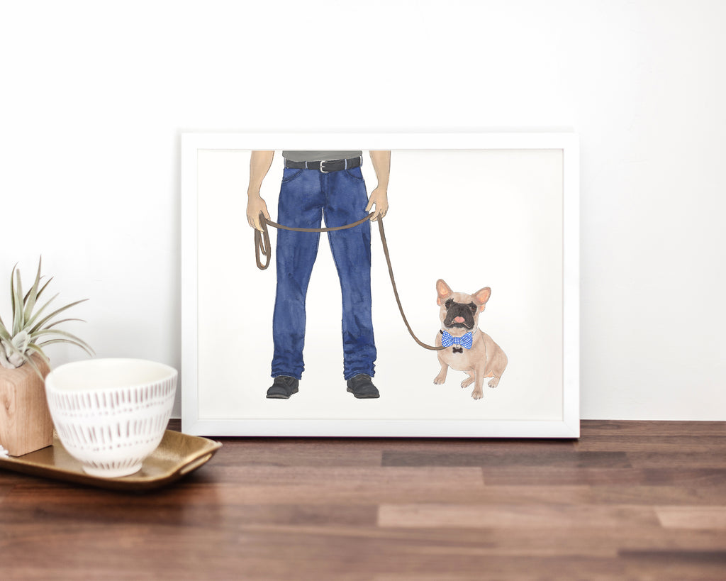 Dog Dad & Masked Frenchie Walkin' Fine Art Print
