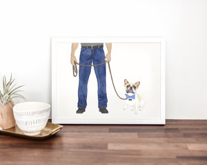 Dog Dad & White / Pied Frenchie Walkin' Fine Art Print