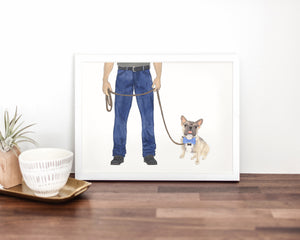 Dog Dad & Blue Fawn Tricolor Frenchie Walkin' Fine Art Print