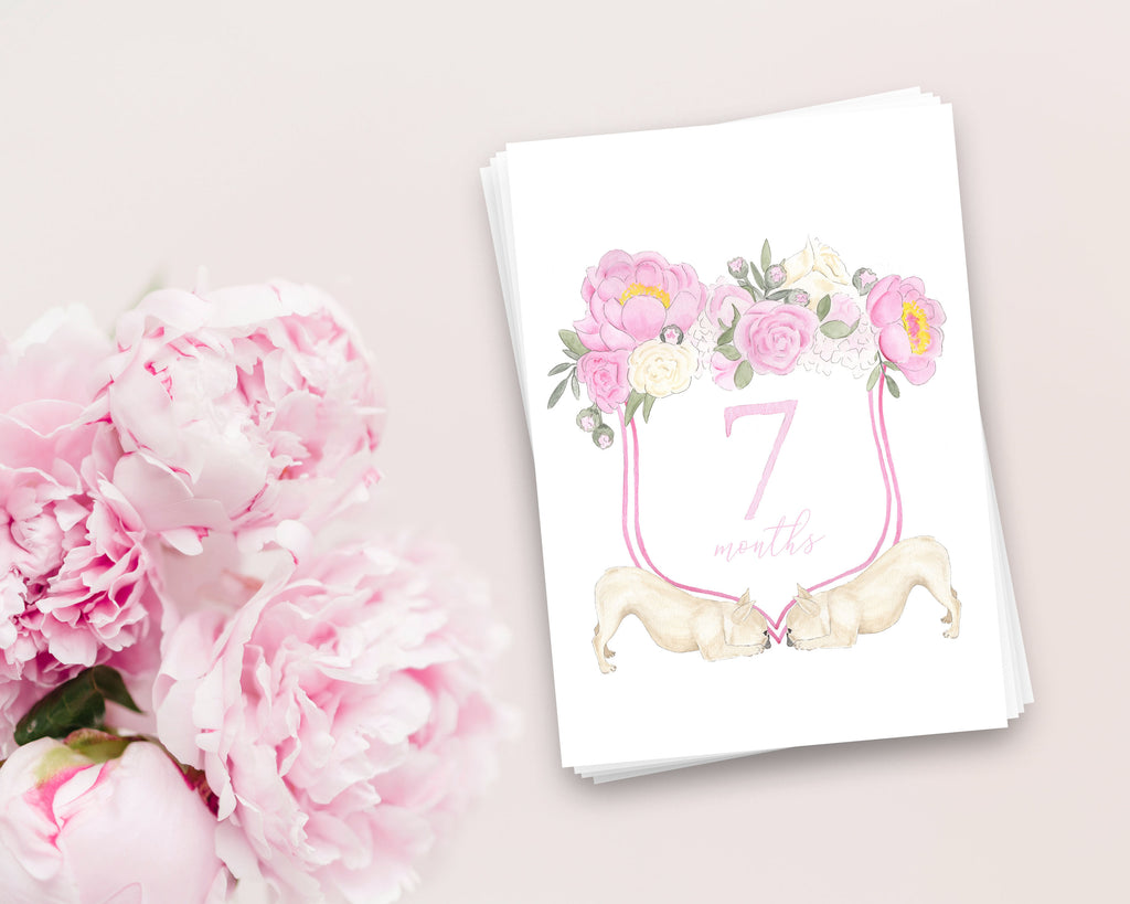 French Bulldog Floral Crest Milestone Cards