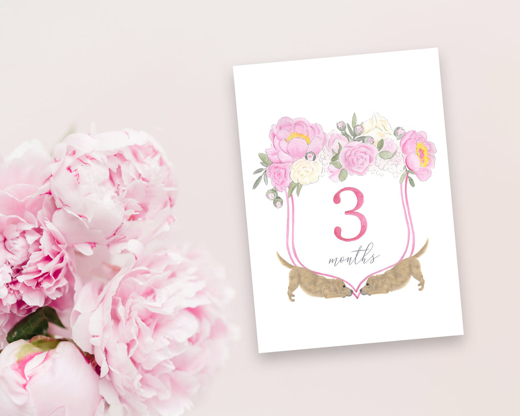 Golden Retriever Floral Crest Milestone Cards