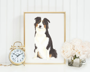 Personalized Australian Shepherd Fine Art Prints