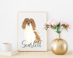 Personalized Cavalier King Charles Spaniel (Blenheim) Fine Art Prints