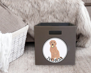 "Personalized Golden Doodle 13"" Storage Bin"