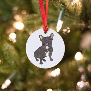 Personalized Frenchie (Black / Brindle) Christmas Ornament