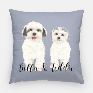 Personalized White Floof Reversible Throw Pillow