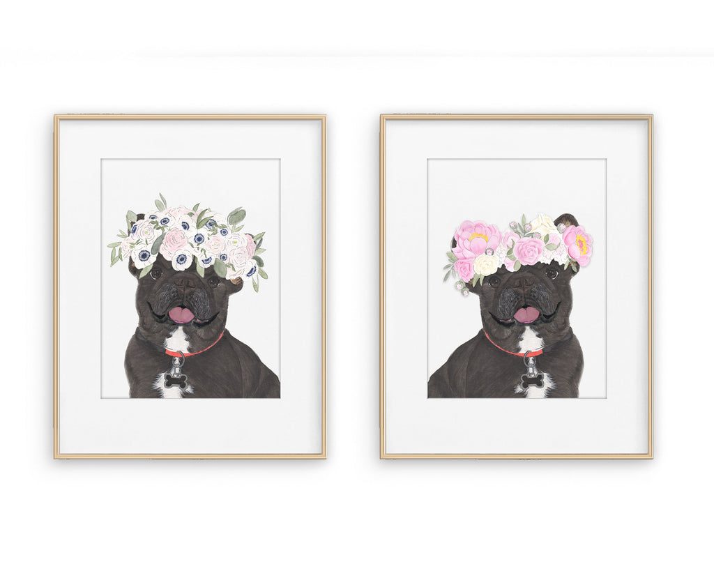 Black / Brindle Frenchies in Flowers Prints