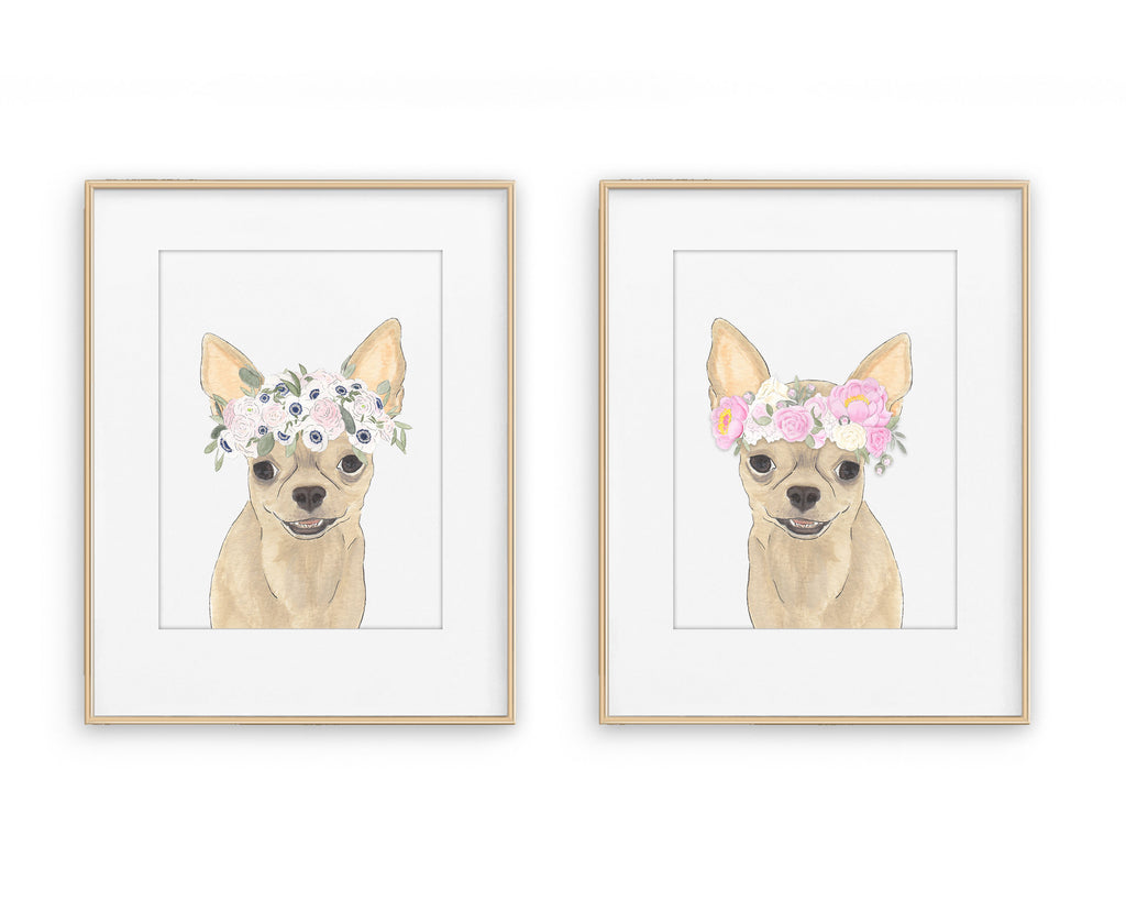 Chihuahuas in Flowers Prints