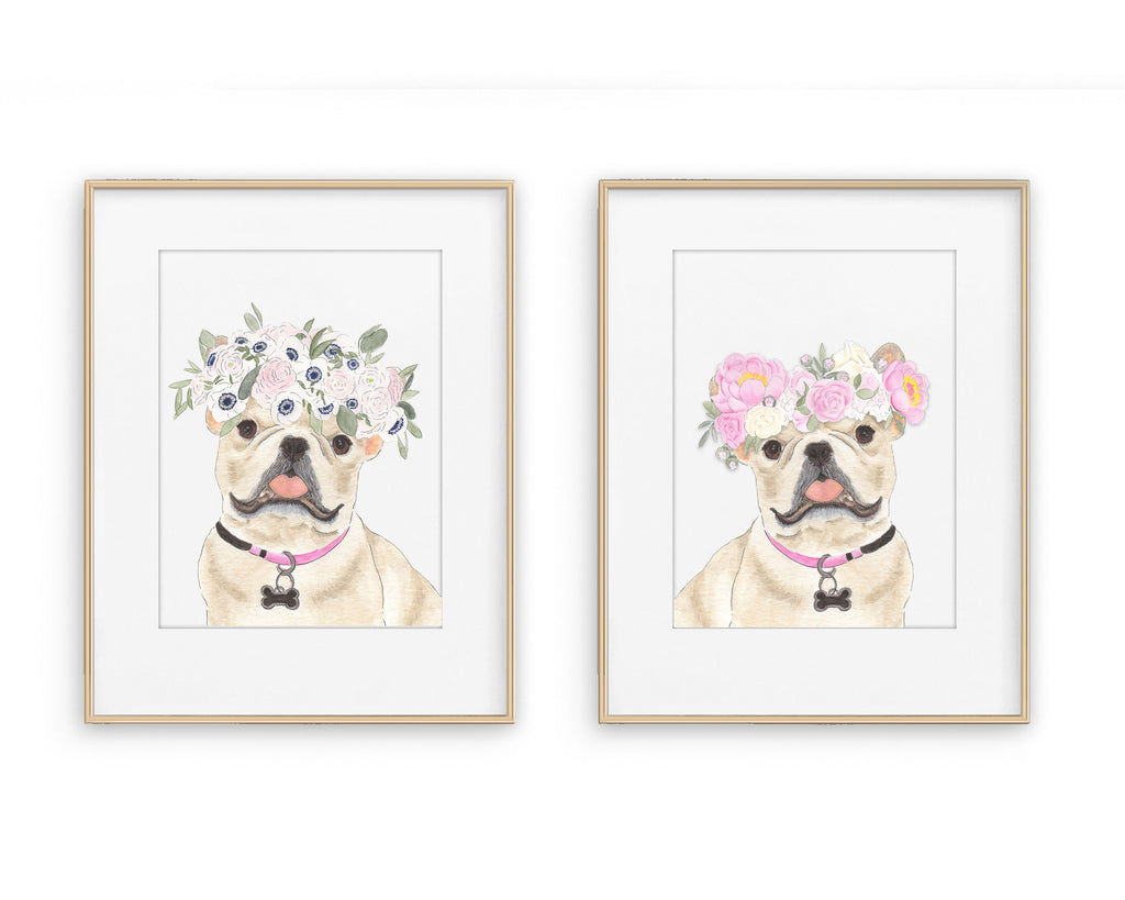 Fawn / Cream Frenchies in Flowers Prints