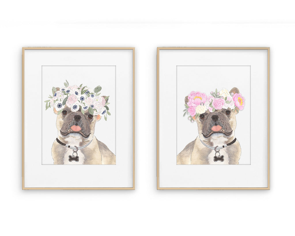 Blue Fawn Tricolor Frenchies in Flowers Prints