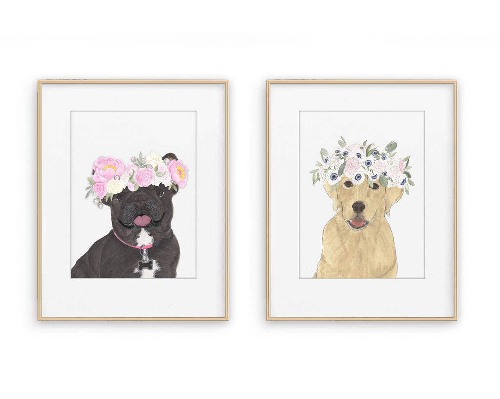 Pups in Peonies Printed Copies