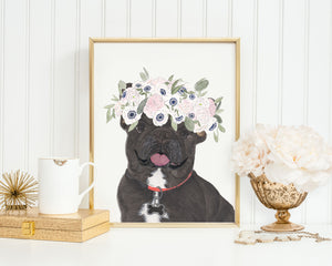 Black & Tan Tricolor Frenchies in Flowers Prints