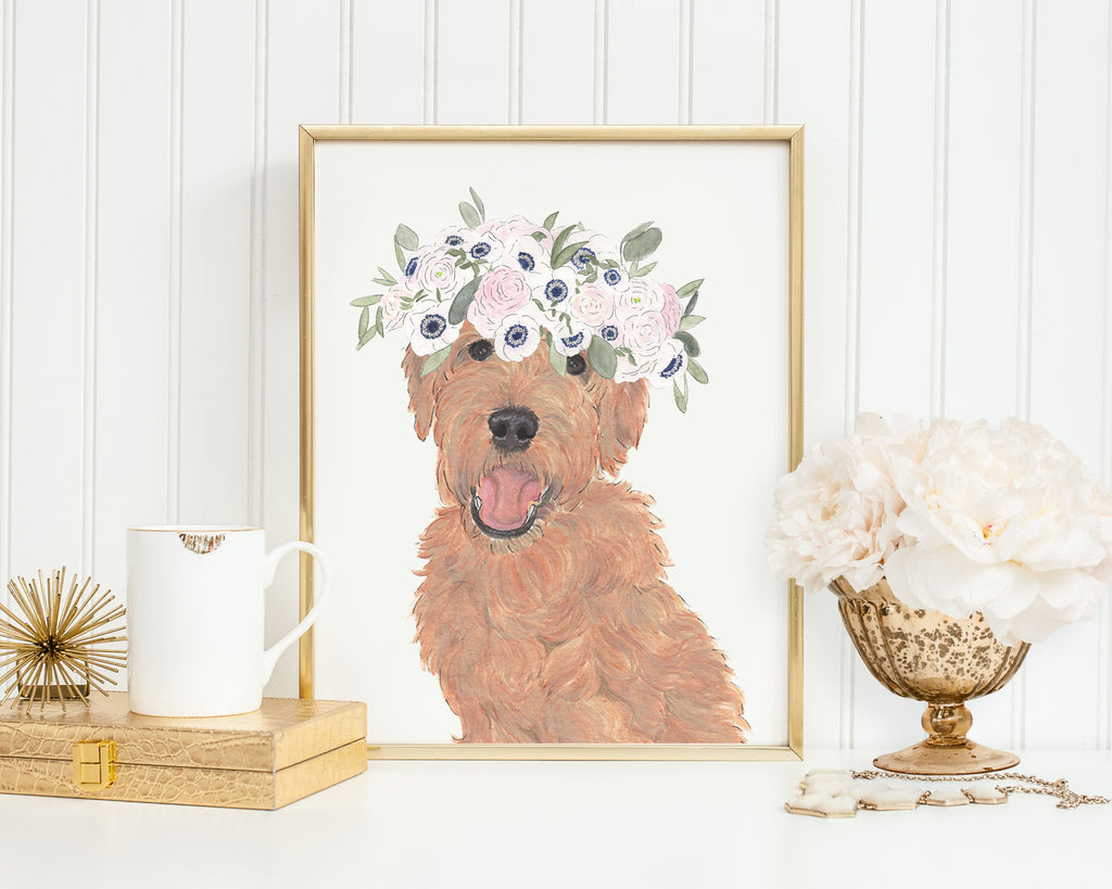Golden Doodles in Flowers Prints