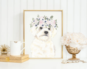 White Floofs in Flowers Prints