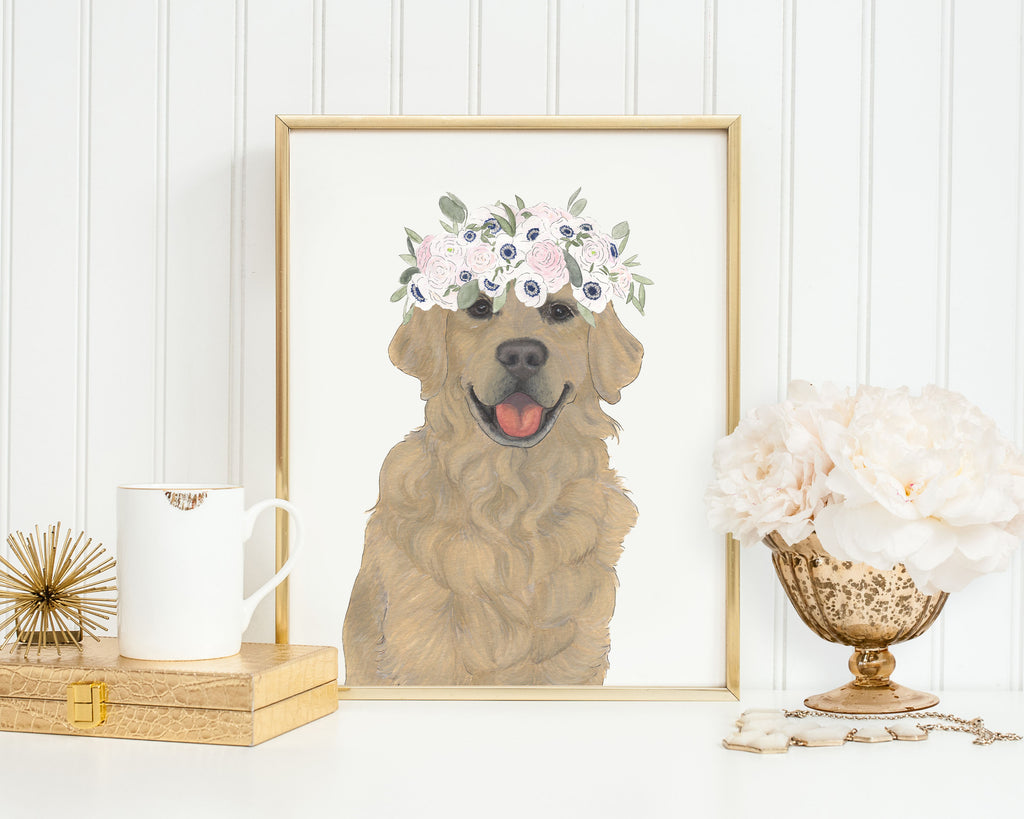 Golden Retrievers in Flowers Prints