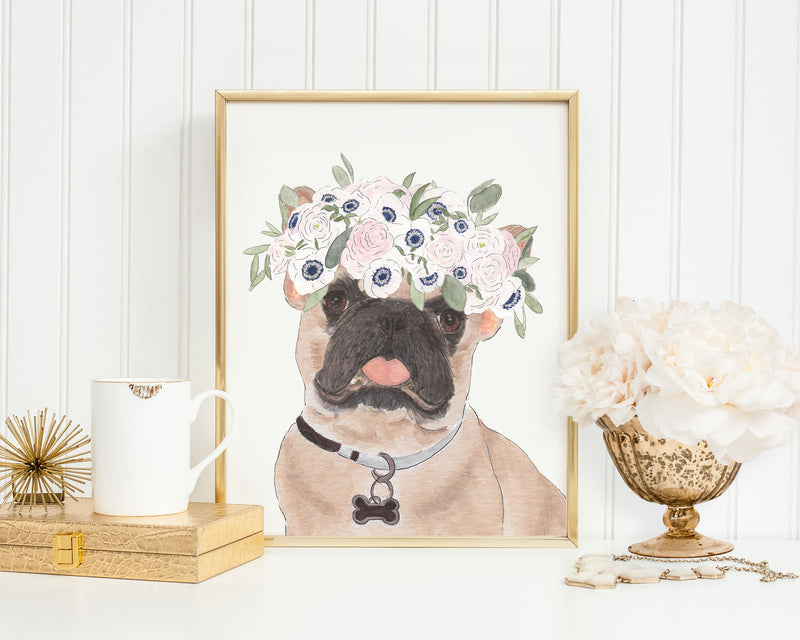 Masked Frenchies in Flowers Prints