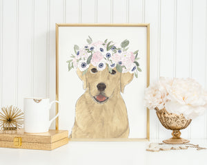 Yellow Labs in Flowers Prints