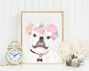 White / Pied Frenchies in Flowers Prints