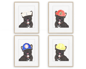 Black & Tan Tricolor Frenchies in Hats Prints
