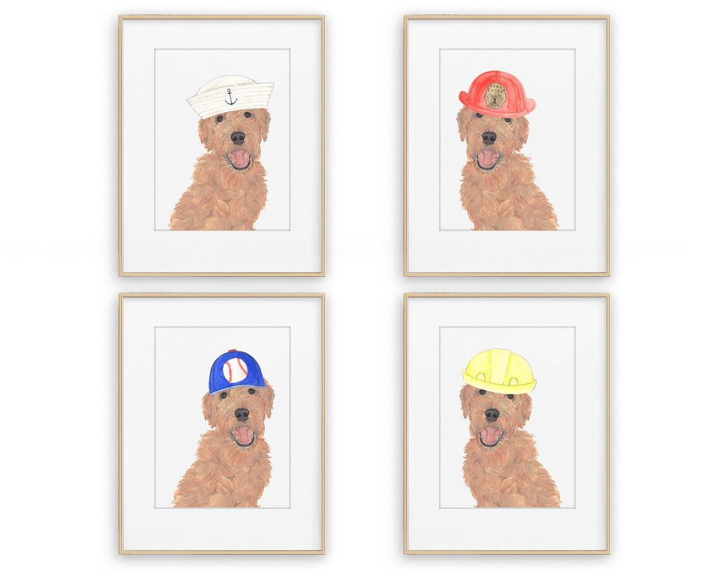 Golden Doodles in Hats Prints