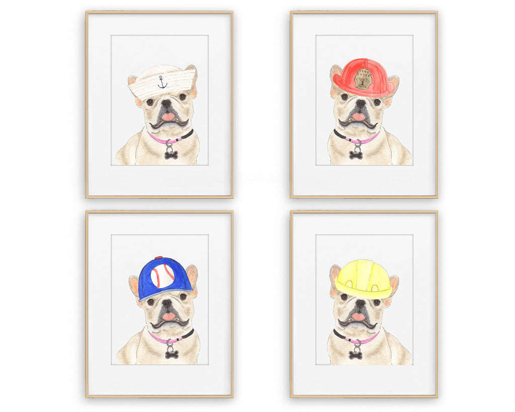 Fawn / Cream Frenchies in Hats Prints