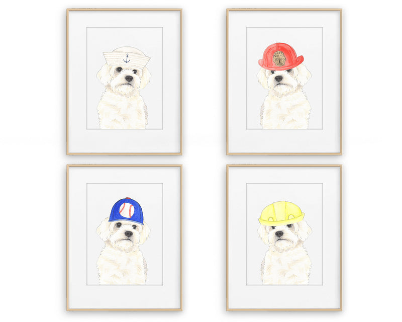 White Floofs in Hats Prints