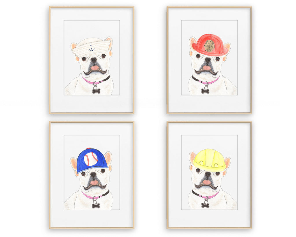 White / Pied Frenchies in Hats Prints