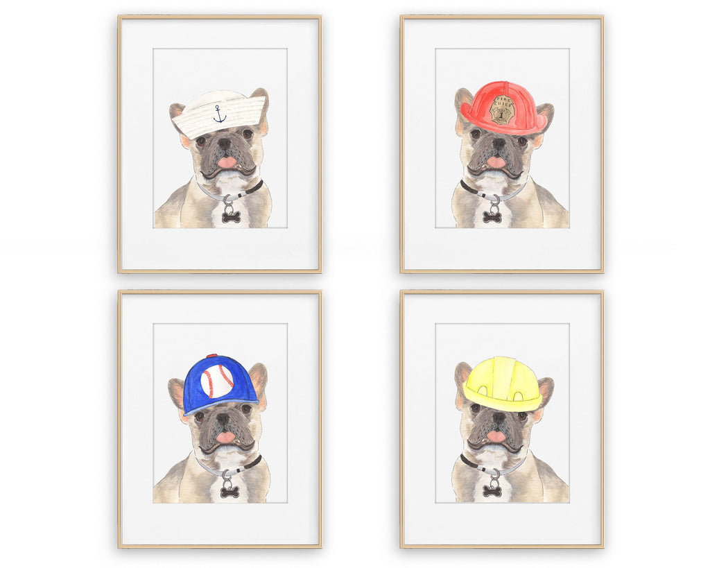 Blue Fawn Tricolor Frenchies in Hats Prints