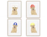 Yellow Labs in in Hats Prints