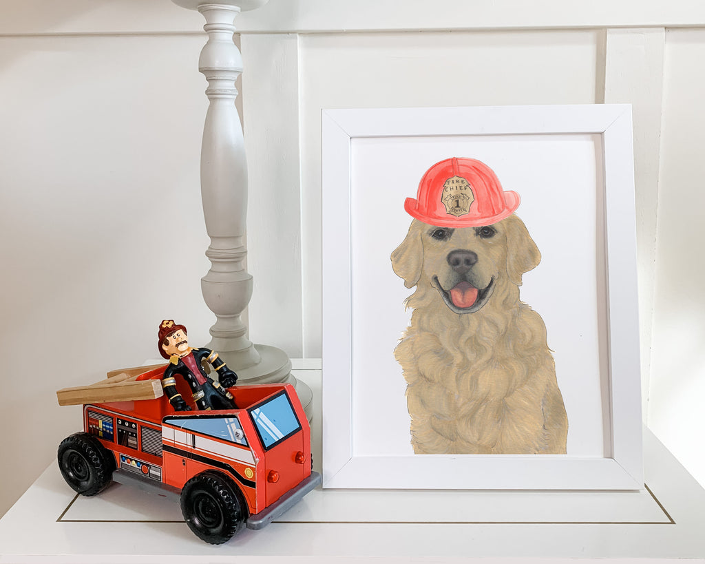 Golden Retrievers in Hats Prints