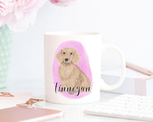 Personalized Dachshund (Long Haired, Red) Ceramic Mug