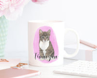 Personalized Tabby Cat (Grey) Ceramic Mug