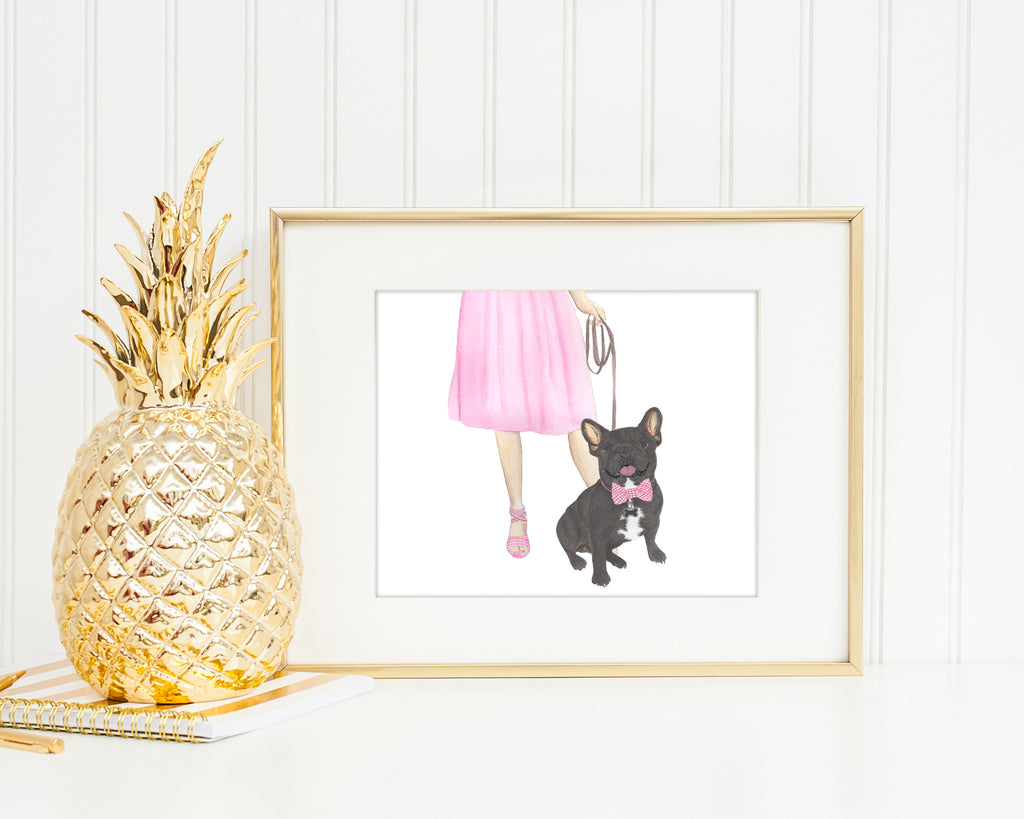 Frenchie Walkin' Fine Art Print (Brindle)