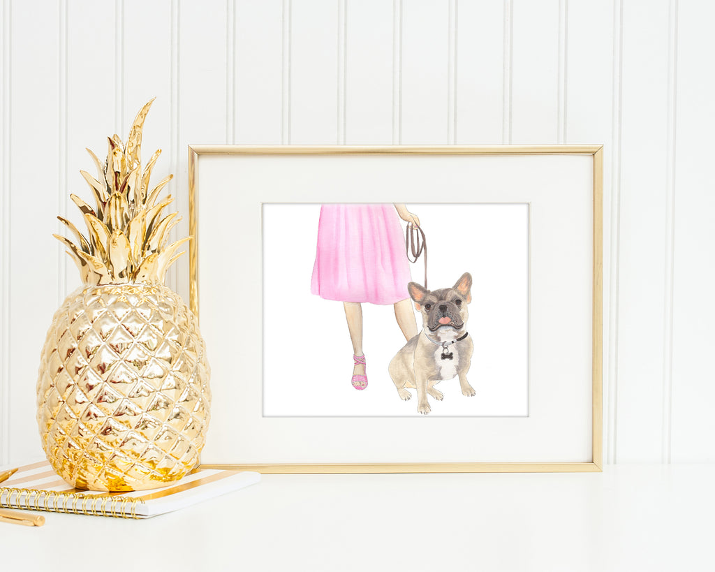 Frenchie Walkin' Fine Art Print (Blue Fawn Tricolor)