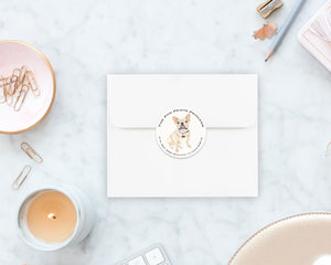 Fawn / Cream French Bulldog Round Address Labels