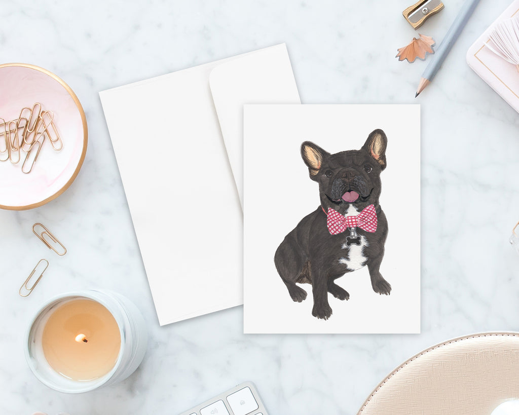 Black / Brindle French Bulldog Big Baby Folded Cards (set of 10)