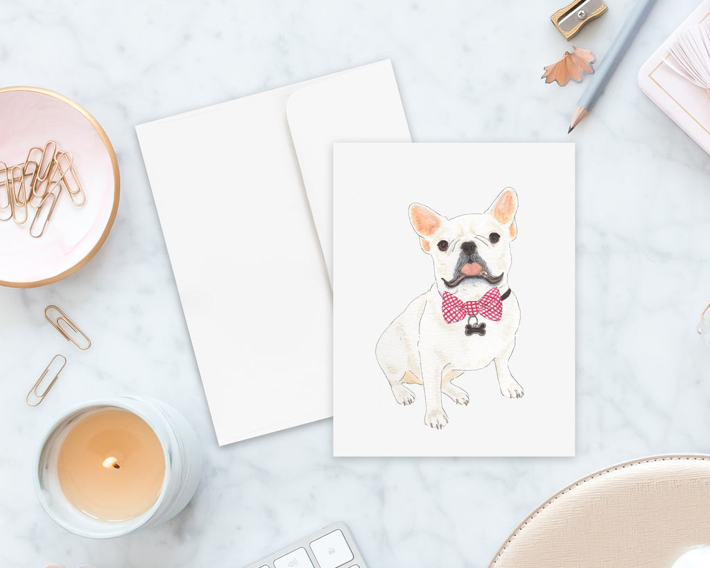 White / Pied Frenchie Big Baby Folded Cards (set of 10)