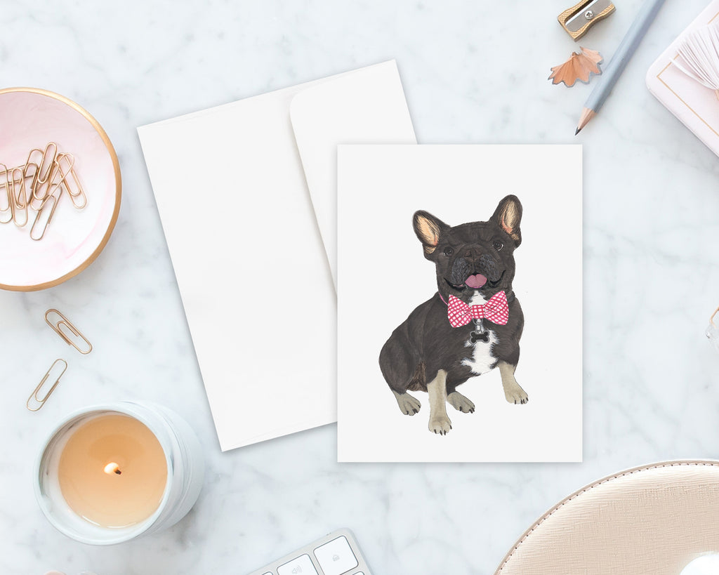 Black & Tan Tricolor Frenchie Big Baby Folded Cards (set of 10)