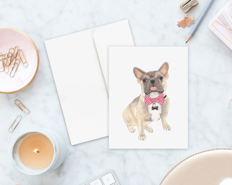 Blue Fawn Tricolor Frenchie Big Baby Folded Cards (set of 10)