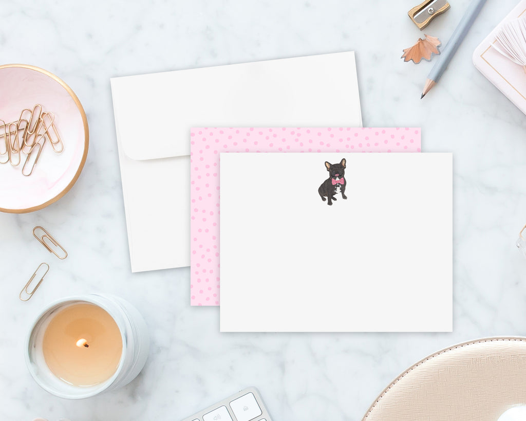 Black / Brindle Frenchie Little Baby Flat Cards (set of 10)