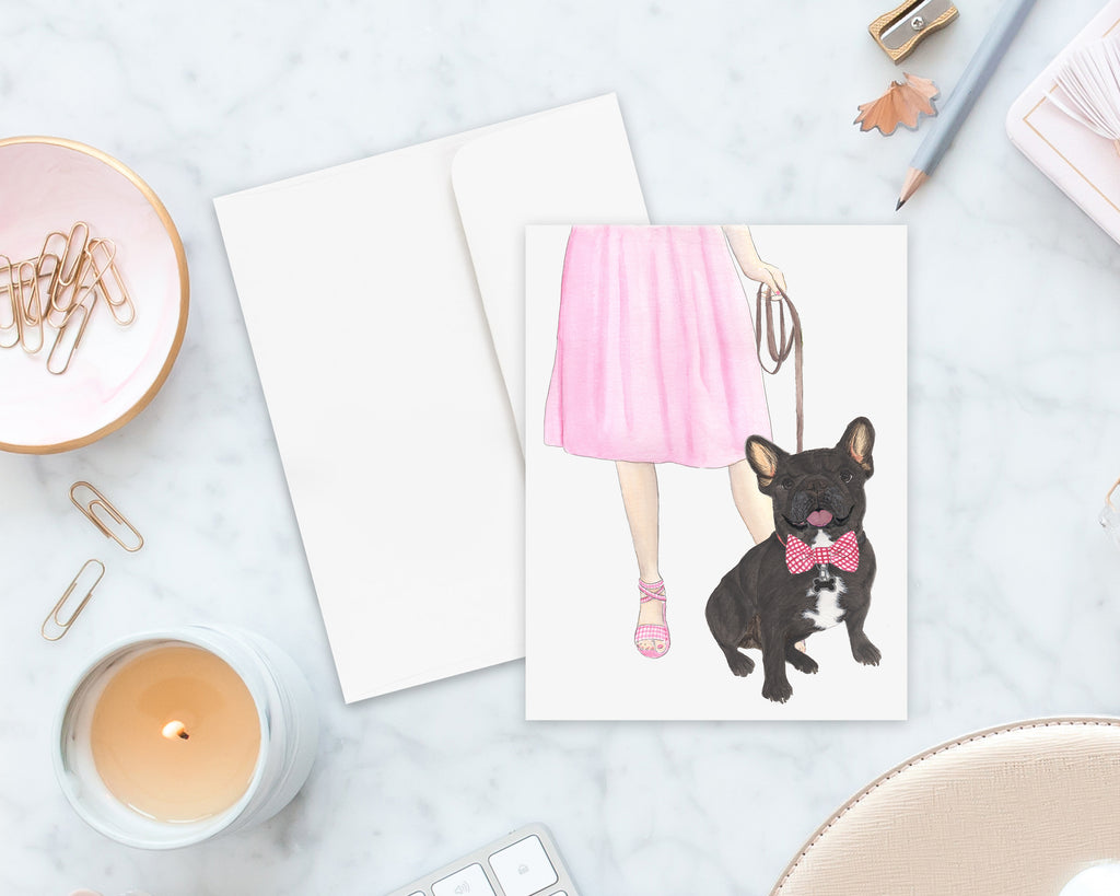 Black / Brindle French Bulldog Walkin' Folded Cards (Set of 10)
