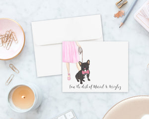 Black / Brindle French Bulldog Walkin' Flat Cards (Set of 10)