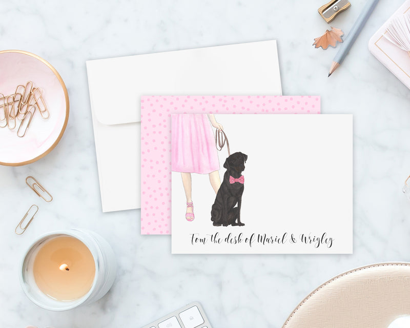 Black Lab Walkin' Flat Cards (Set of 10)