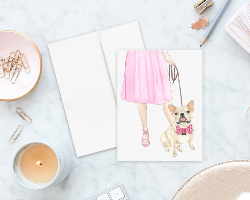 Fawn / Cream Frenchie Walkin' Folded Cards (Set of 10)